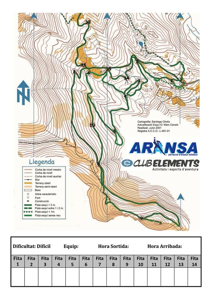 mapa orientació esquí difícil